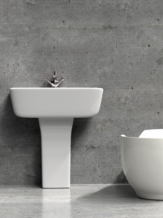 3D render of modern white bathroom washbasin and bath tub and grunge gray wall and floor