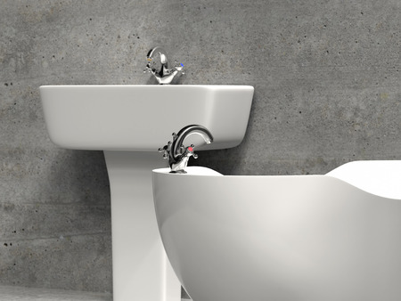 Modern white bathroom washbasin and bath tub and grunge gray wall and floor