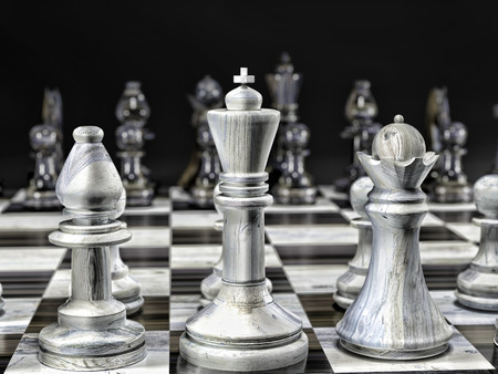 3D render of wooden set of white and black chess pieces on chess board with black background Stock Photo