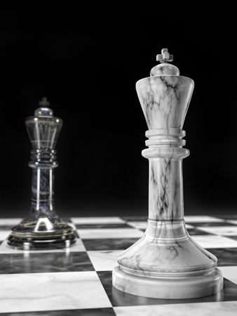 3D render of white and black marble chess Kings standing on chess board opposite each other against black background