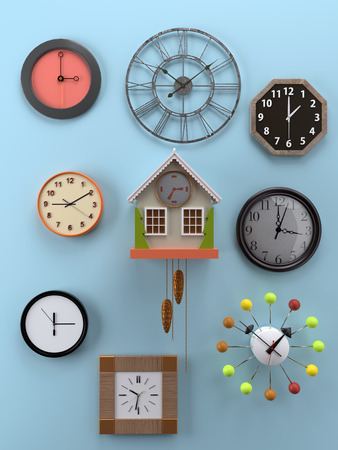 3D rendering of various types and shapes of wall clocks hung on light blue wall showing different time