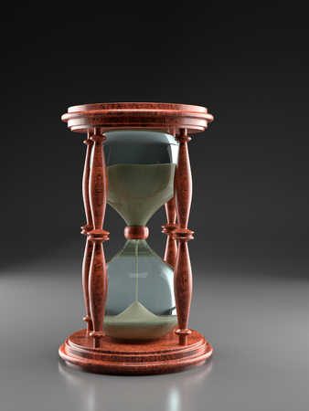 3D render of stylish hour glass with sand over dark gray background