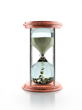 3D render of stylish hour glass with flowing sand changing into golden coins - time is money conceptackground Stock Photo