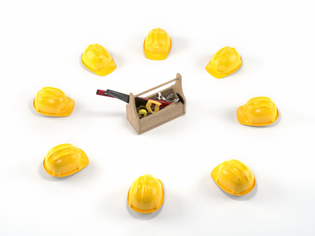 Wooden toolbox with tools surrounded by yellow hard hats on white background