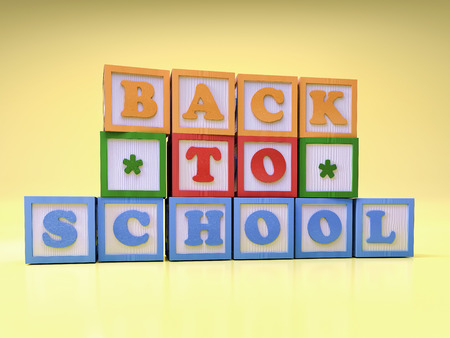 3D render of wooden blocks with letters arranged into Back to School wording