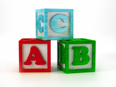 3D render of wooden blocks with ABC letters on white background Stock Photo