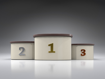3D render of first, second and third place podium Stock Photo