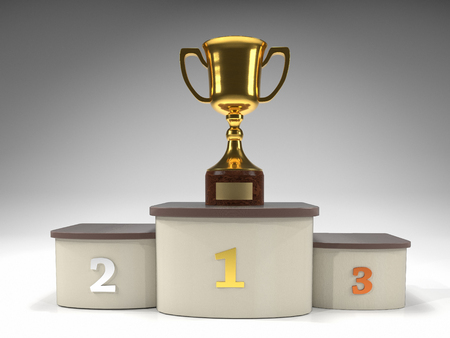 3D render of golden trophy cup on podium Stock Photo