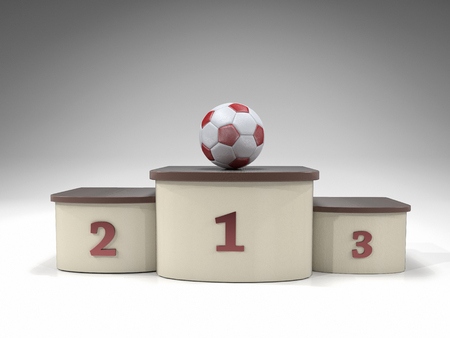 3D render of soccer ball on the first place podium