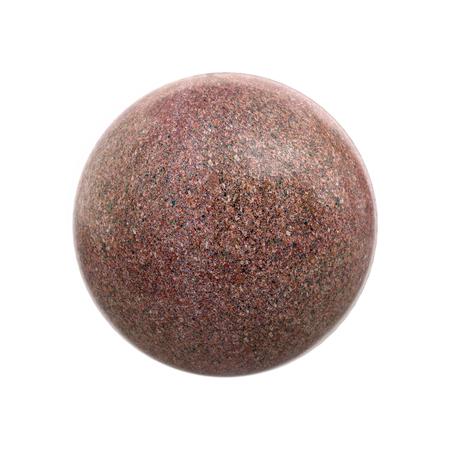 Red shiny granite ball on white Stock Photo