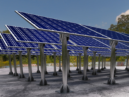 3D render of solar farm Stock Photo