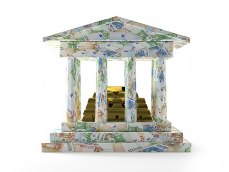 3D render of Bank columnar structure with euro banknotes and pile of golden ingots Banco de Imagens