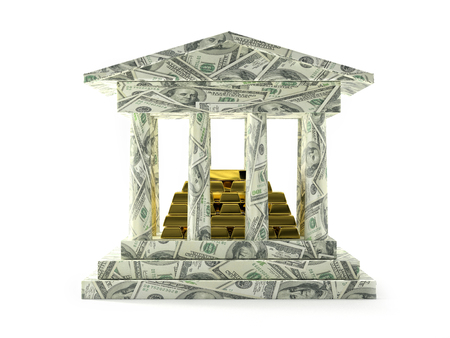 3D render of Bank columnar structure wrapped around with one hundred US dollars banknotes and pile of golden ingots Stock Photo