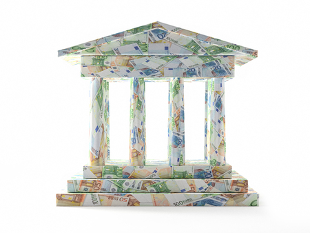 3D render of Bank columnar structure wrapped around with Euro banknotes