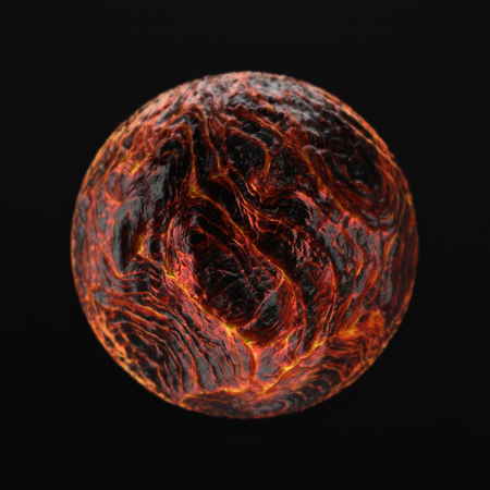 3D render of hot liquid lava planet on black background