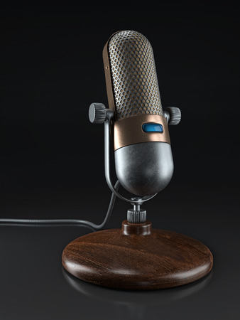 3D render of vintage microphone with wooden stand on black background
