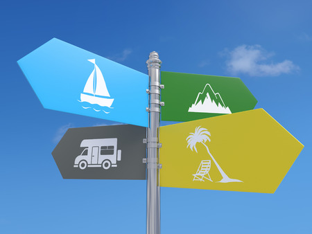 Four-way metal signpost with summer holiday destination idea over blue sky background