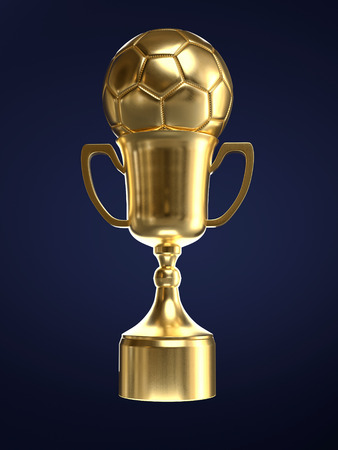 3D render of golden trophy cup with soccer ball on dark blue background