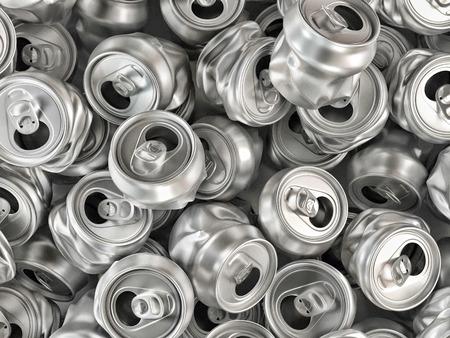 Pile of empty crashed aluminum soda cans Stock Photo