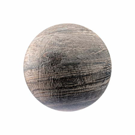 3D render of old rustic wooden sphere on white background