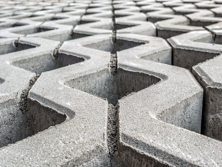 Closeup of openwork concrete pavement surface Stock Photo
