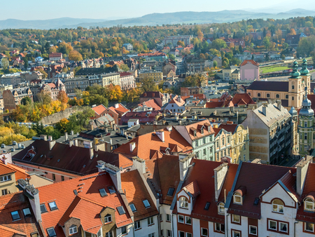 Panoramic view of Klodzko city with Sudety mountain range in the background, Lower Silesia, Poland