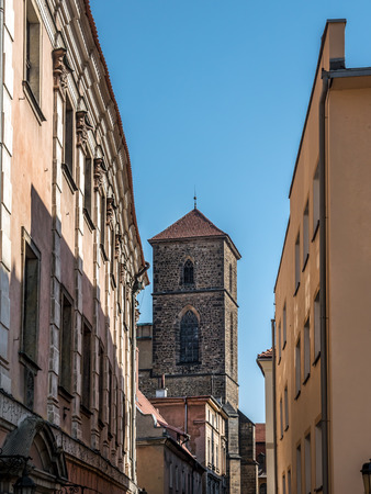 Gothic tower of the church of the Assumption of the Virgin Mary, Klodzko, Poland Stock Photo