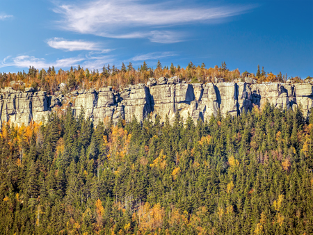 Szczeliniec Wielki - famous tourist attraction within the Table Mountain National Park, in autumn scenery, Poland