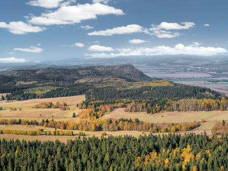 View from Szczeliniec Wielki to the Czech part of the Table Mountains called Broumovske Steny, autumn scenery