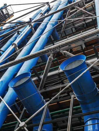 External colorful metal tubing of the Centre Georges Pompidou in Paris, France