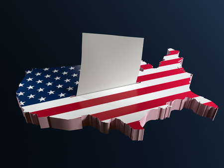 3D render of ballot box in shape of USA borderline with national flag and voting card half-inserted into ballot box slot Stock Photo