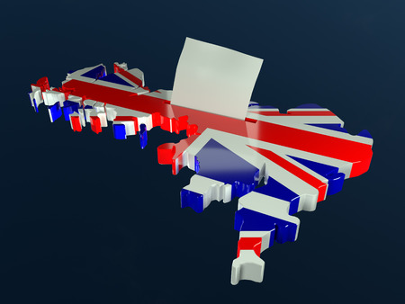 3D render of ballot box in shape of Great Britain outline superimposed with national flag and voting card half-inserted into ballot box slot
