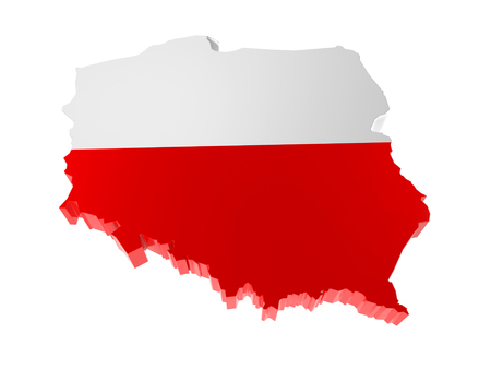 3D render of Poland borderline with national flag colors on white background
