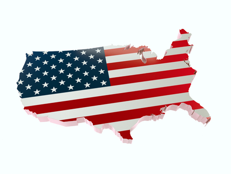 3D render of USA borderline with national flag colors on white background Stock Photo