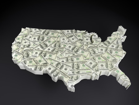 3D render of of USA map with superimposed one hundred dollar banknotes over dark gray background