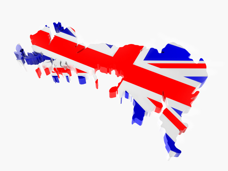 3D render of Great Britain borderline with national flag colors on white background