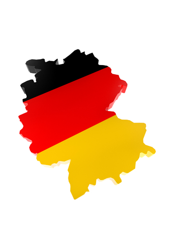 3D render of Germany borderline with national flag colors on white background