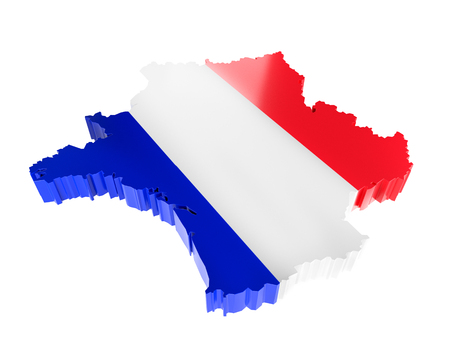 3D render of France borderline with national flag colors on white background