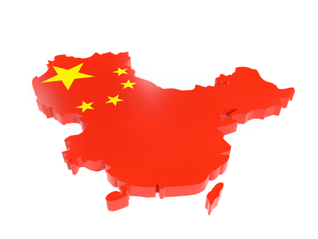 3D render of China borderline with national flag colors on white background Stock Photo