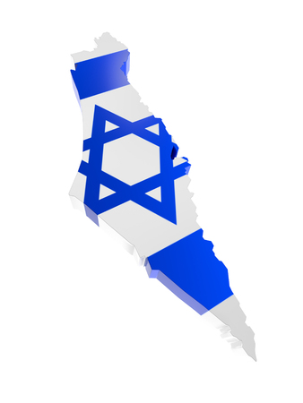 3D render of Israel borderline with national flag colors on white background Stock Photo