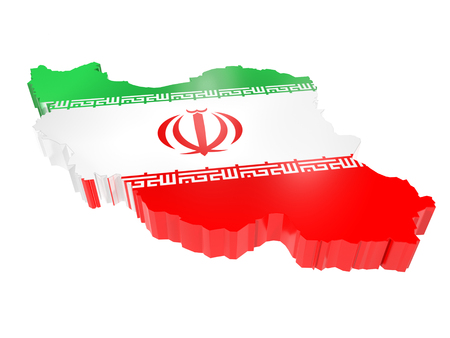 3D render of Iran borderline with national flag colors on white background Stock Photo