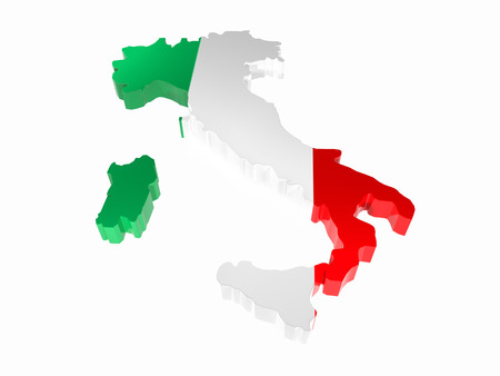 3D render of Italy borderline with national flag colors on white background Stock Photo