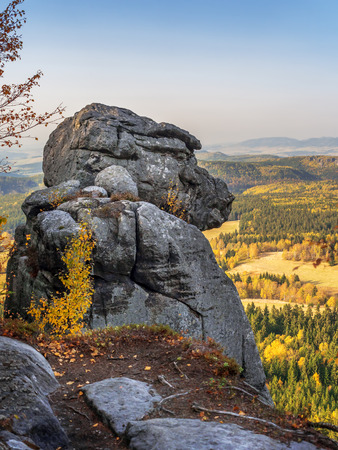 Unique rock shape called Ape within the Table Mountain National Park, Poland Stock Photo