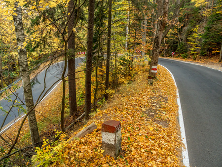 Picturesque the so called Hundred Curves Road in the Table Mountains National Park in autumn time, Poland