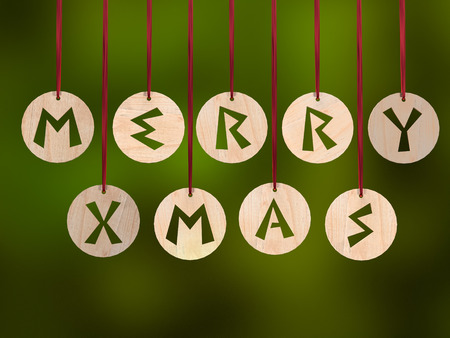 3D render of wooden ringlets with cut out Merry Xmas greeting over green background