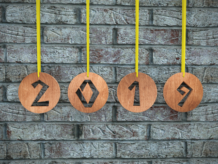 3D render of wooden ringlets with cut out 2019 date hanging against gray brick wall