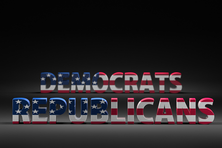 3D render of Democrats vs Republicans words with superimposed American flag