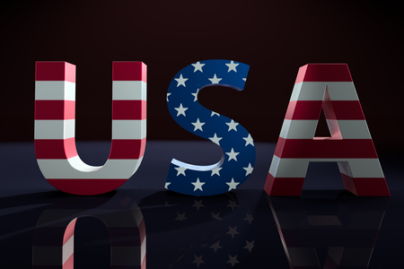 3D render of USA word with superimposed american flag star and stripe pattern on black background