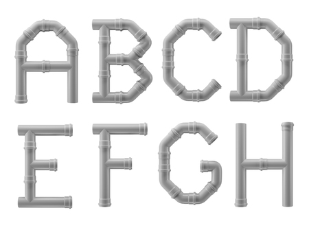 PVC alphabet made of PVC piping elements - letters A to H