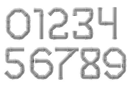0 to 9 digits made of PVC piping elements Stock Photo
